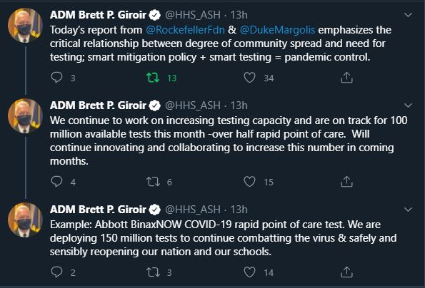 September 9th 2020 Tweet by ADM Brett P. Giroir, Assistant Secretary
